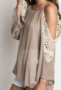 Umgee 2xl crochet cold shoulder top shirt